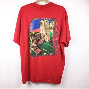 Vintage 90s LATINO Red Mock Collar T Shirt